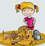 Meisjeszorgen van haar huisdieren Stock Illustratie