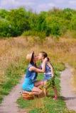 Meisjeszuster op een gebied met bloemen Royalty-vrije Stock Foto