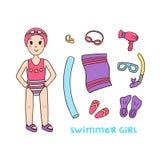 Meisjeszwemmer en dingen voor de pool en de sportuitrusting om te zwemmen royalty-vrije illustratie