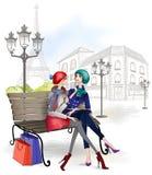 Meisjezitting op een bank in Parijs 2 royalty-vrije illustratie