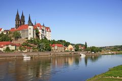 Meissen. View over the Elbe at Meissen, the castle and the towers of the cathedral Royalty Free Stock Image