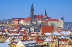 Meissen Albrechtsburg vinter fotografering för bildbyråer