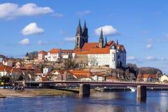 MEISSEN, ALEMANHA - 23 02 2014: Arquitetura da cidade de Meissen em Alemanha com o castelo de Albrechtsburg O castelo de Albrecht Fotografia de Stock