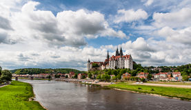 Meissen Castle and Elbe river panorama Royalty Free Stock Photography