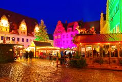 Meissen christmas market at night stock photos