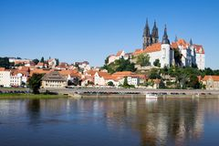 Meissen city in Germany and Elbe river. Cityscape of Meissen with the Albrechtsburg castle on the Elbe river. Meissen is a city on both banks of the Elbe river stock photography