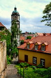 Meissen, Germany: Baroque Church Tower & Houses Royalty Free Stock Photos