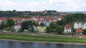 Meissen, Germany : Panoramic View of historic Meissen city center, Germany . Meissen is a town on both banks of the Elbe stock footage