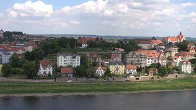 Meissen, Germany : Panoramic View of historic Meissen city center, Germany . Meissen is a town on both banks of the Elbe stock video footage