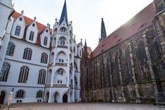 Meissen kasztelu kwadratowy i katedralny widok Zdjęcia Royalty Free