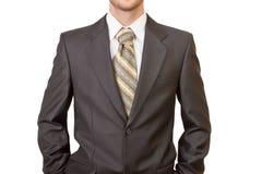 Meister des Geschäfts gekleidet im schwarzen Anzug Stockbilder