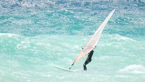 Meister des Sports, der auf Wellen, extreme Fähigkeiten zeigend, Windsurfschule segelt stock footage