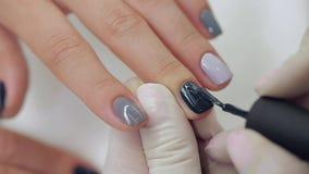 Meister erhält einer neuen Farbe graue Finger auf unterschiedlichem stock video