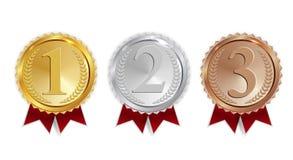 Meister-Gold-, silberne und Bronzemedaille mit rotem Band-Ikonen-Zeichen zuerst, drittplatzierter Sammlungs-Satz Secondand an lok vektor abbildung