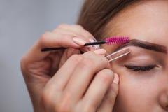Meister korrigiert Make-up, gibt Form und zupft vorher gemalt mit Hennastrauchaugenbrauen lizenzfreies stockbild
