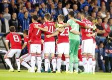 Meister-Liga FC Brügge - Manchester United Equipe Manchester United Stockbild