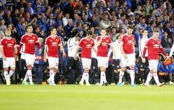 Meister-Liga FC Brügge - Manchester United Equipe Manchester United Lizenzfreies Stockfoto