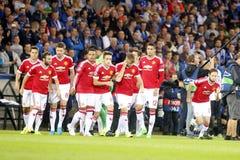 Meister-Liga FC Brügge - Manchester United Equipe Manchester United Stockfoto