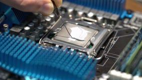 Meister setzt thermische Paste auf die CPU, Computerreparatur stock footage