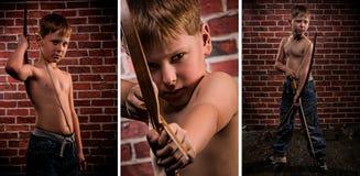Meisterschützecollage: Kind mit Pfeil und Bogen Lizenzfreie Stockfotos