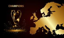 Meisterschaft mit einer Karte Goldene Fußballtrophäe stock abbildung