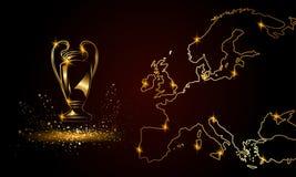 Meisterschaft mit einer linearen Karte Goldene Fußballtrophäe lizenzfreie abbildung