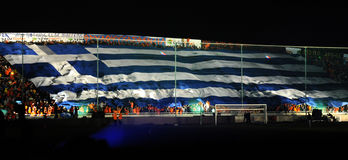 Meisterschaftfeiern von APOEL schlagen, ZYPERN mit einer Keule stockbilder