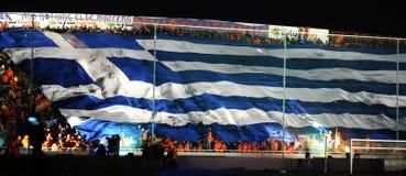 Meisterschaftfeiern von APOEL schlagen, ZYPERN mit einer Keule Stockfoto