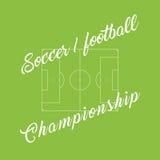 Meisterschaftsfußball, grüner Hintergrund des Fußballs Stadionslinie Lizenzfreies Stockfoto