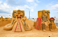 Meisterwerke der italienischen Kultur Ausstellung von Sandskulpturen stockfotografie