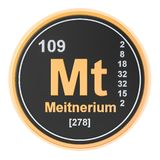 Meitnerium Mt chemical element. 3D rendering. Isolated on white background vector illustration