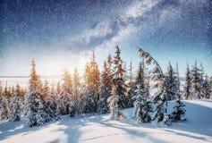 Mejeri Star Trek i vinterträna Dramatisk och pittoresk sc fotografering för bildbyråer