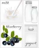 mejeridesignelement mjölkar milky emballage s royaltyfri illustrationer