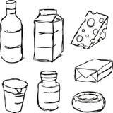 Mejeriprodukt - den svarta översikten skissar Royaltyfri Bild