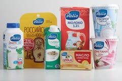 Mejeriprodukter av den ryska filialen av det finlandssvenska Valio företaget royaltyfri fotografi