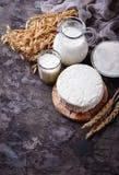 Mejeriprodukter mjölkar, keso, gräddfil och vete Arkivfoton