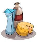 Mejeriprodukter mjölkar, ost och yoghurten Arkivbilder
