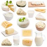 Mejeriprodukter på en vit bakgrund royaltyfri bild