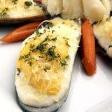 Mejillón cocido con queso Foto de archivo