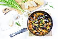 Mejillones deliciosos de los mariscos con la salsa roja y las cebollas verdes en una cacerola imagen de archivo libre de regalías