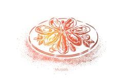 Mejillones sabrosos, plato tradicional de la marisquer?a, molusco cocinado, nutrici?n sana, cena exquisita ilustración del vector
