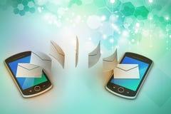 Mejl som delar mellan den smarta telefonen Arkivfoton
