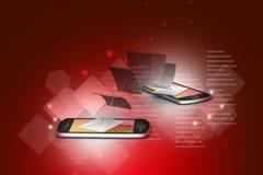 Mejl som delar mellan den smarta telefonen Arkivbilder