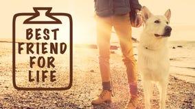Mejor amigo para el concepto de la vida, muchacha con su perro Imágenes de archivo libres de regalías