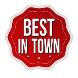 Mejor en etiqueta o etiqueta engomada de la ciudad Imágenes de archivo libres de regalías