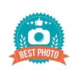 Mejor etiqueta simple de la bandera de la foto Fotografía de archivo
