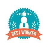 Mejor etiqueta simple de la bandera del trabajador Fotografía de archivo