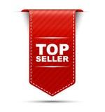 Mejor vendedor rojo del diseño de la bandera Imágenes de archivo libres de regalías