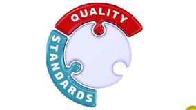 Mejora de las normas de calidad  La marca de verificación bajo la forma de rompecabezas stock de ilustración