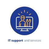 Mejora del ordenador, actualización del sistema, instalación de software, servicios de reparación, línea de ayuda de las TIC icon libre illustration